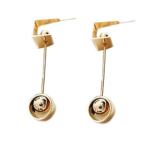 Geometric Gold Color Earrings Women Punk Party Metal Alloy Ball Statement Drop Earrings for Beauty Girls