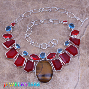 Glaring Brown Natural Stone Red Garnet 925 Sterling Silver Grade Necklace L521
