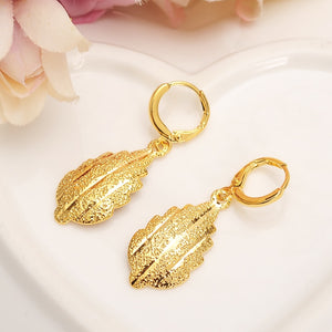 Gold Africa Dubai leaf drop Earrings Women/Girl charms Jewelry for African/Arab wedding bridal kids childrenChristmas gift