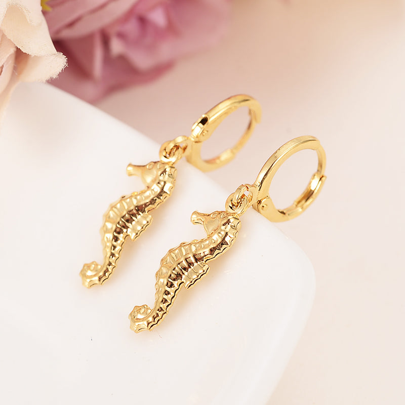 Gold African seahorse Women's Drop Earring Hippocampus Dangle Earring Charms Jewelry Earrings brincos Vintage girls kids gift