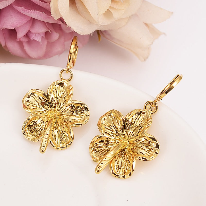 Gold Althea hibiscus flower Dangle Earrings Women Fashion Jewelry Gold Metal Drop Earrings For girls kids Gifts wedding bridal