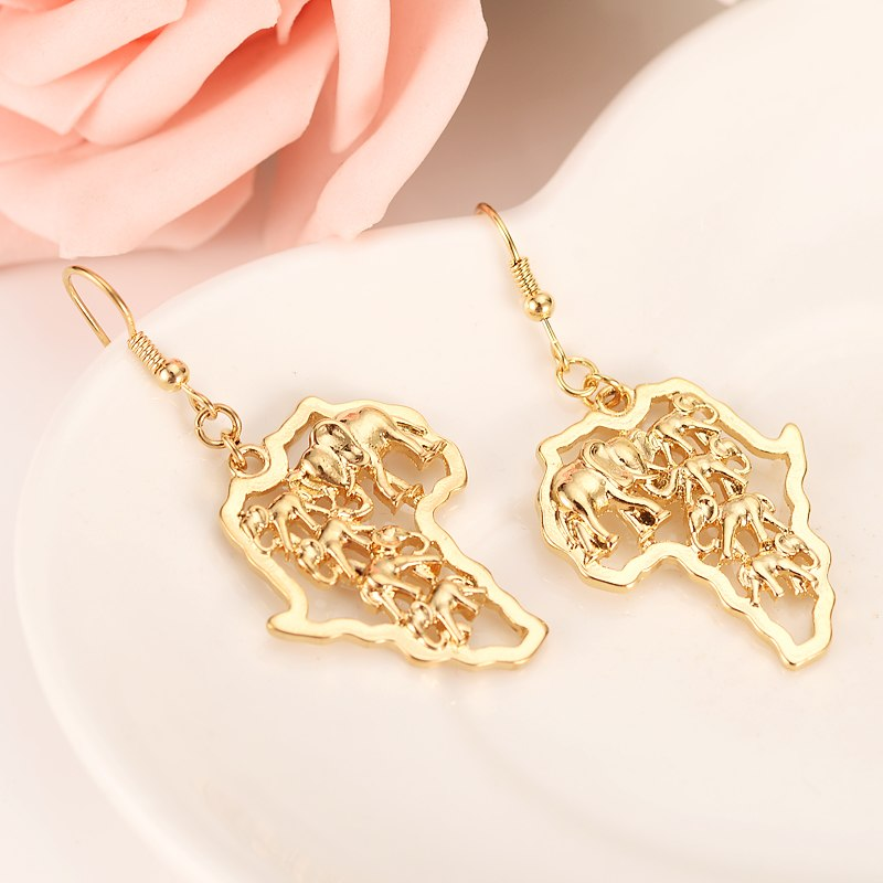 Gold drop Earrings Women/Girl,Love Trendy fashion Jewelry for African elephant pendant Ethiopia King best gift