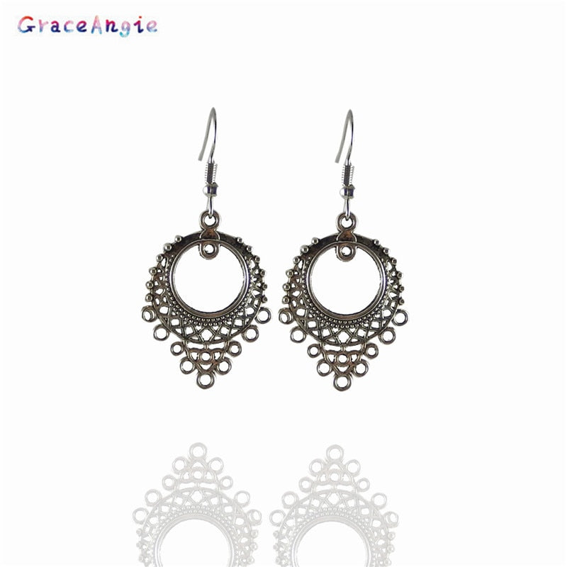 1pair/pack Ancient Silver Zinc Alloy Creative Fashion Pop Style Peacock Opening Shape Round Earrings Ear Hook