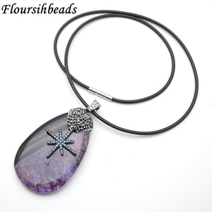 Gun Metal Star Charm Purple Quartz Agate Slab Pendant Rubber Chain Necklace Fashion Woman Jewelry