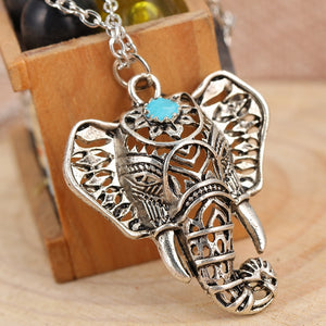Gypsy Vintage Silver Elephant Pendant Necklace Chain Jewelry Gift 4ND112
