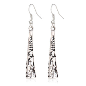 H:HYDE Vintage Ethnic Hollow Drop Earrings for Women Silver Color Exquisite Carved Earrings Fashion Party Jewelry