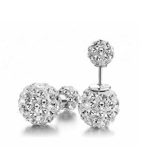 HHotshopping Shamballa 925 Rhinestones Double Balls 10mm Princess Stud Earrings