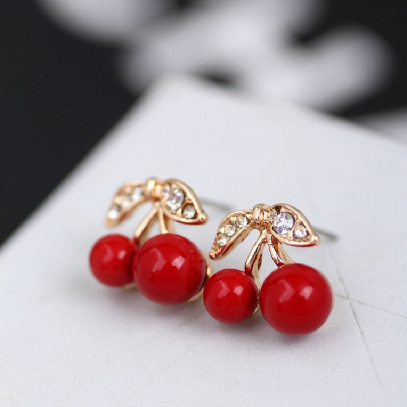 HOT fashion simple elegant fashion sexy girl cute Red Cherry Stud Earring Women