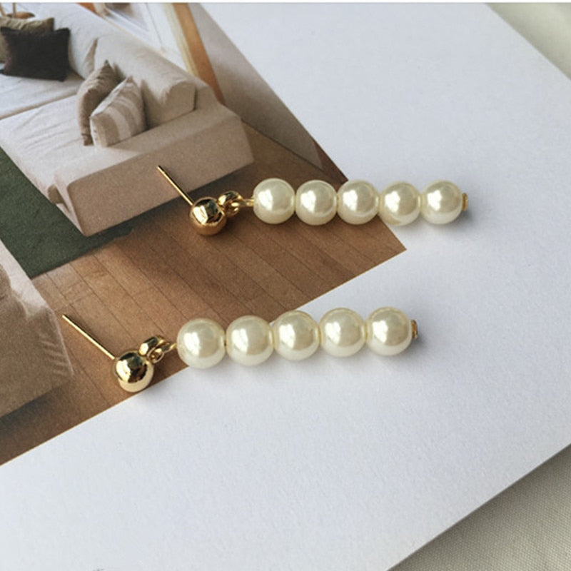 Hand made custom Japan and South Korea wind retro temperament style Hepburn wind beads beads pearl earrings wholesale