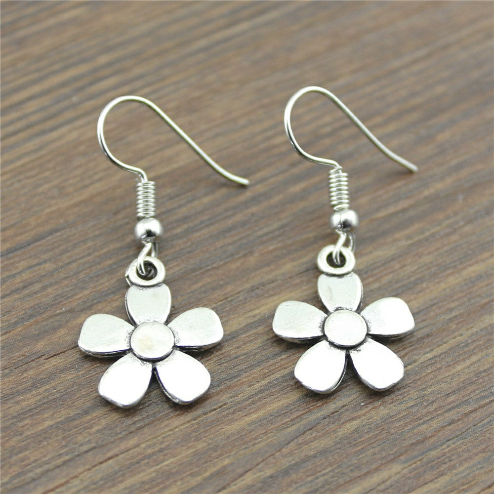Handmade Antique Silver Color Cute Small Flowers Drop Earrings For Girls