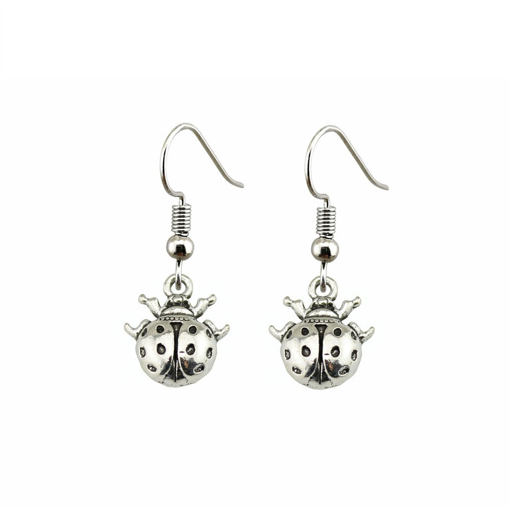 Handmade Antique Silver Color Cute Small Ladybug Drop Earrings For Girls