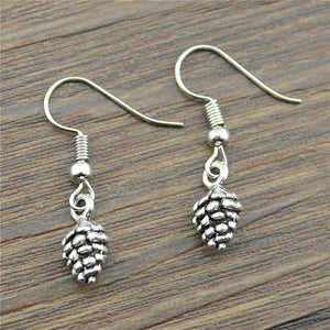Handmade Antique Silver Color Cute Tiny 3D Echinacea Drop Earrings