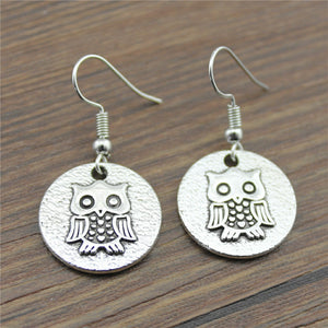 Handmade Antique Silver Color Round Cute Owl Pattern Tag Drop Earrings For Girls