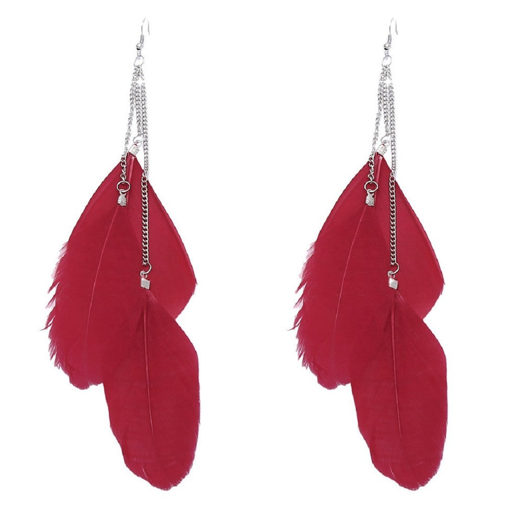 Handmade Vintage Boheme Earrings Long Feathers Earrings Red