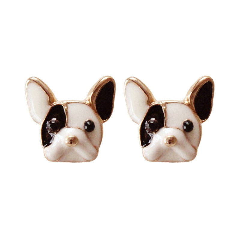 Harajuku Sake Cute Dogs Earrings Colorful Enamel Lovely Dog Stud Earring For Women Children Kids Girls