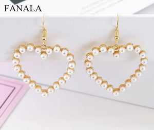 Heart Dangle Simple Peach Pearl 2017 Femme D'oreille Love Jewelry Drop Earrings Earrings Fashion Female Boucle