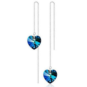 Heart shape Silver Plated Long Earrings For Women Crystal Earrings Charm Jewelry