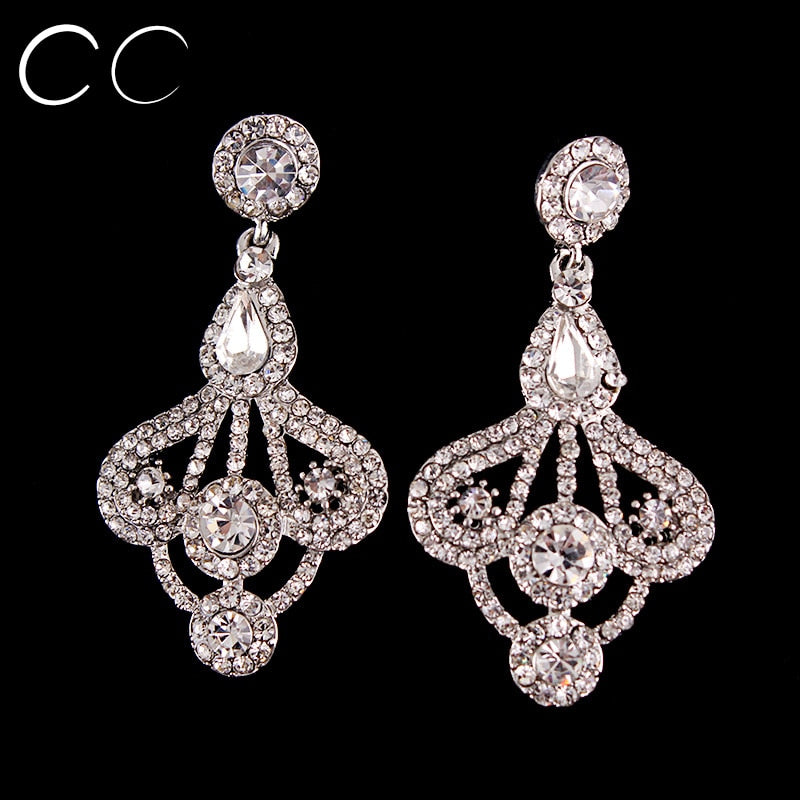 High Quality Crystal Bridal Wedding Accessories Long Stud Earrings for Women Brincos Fashion Jewelry Gift Bijouux Femme B002