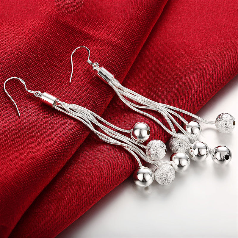High Quality Jewelry 925 Jewelry Sterling Silver Three Line Beads Earrings For Women Best Gift