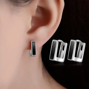 High-quality Fashion 925 Sterling Silver Jewelry Personality Black Epoxy Wild Geometry Square Dangle Earrings SE301