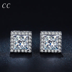 High quality square shaped AAA cubic zircon stud earrings for women wedding engagement trendy fashion jewelry girls' gift CCE042