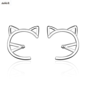 Hollow Cat Stud Earrings for Girls Kids Child Animal Cute Earrings 2018 Korean Simple Earrings Fashion Jewelry 2018 Women Gifts