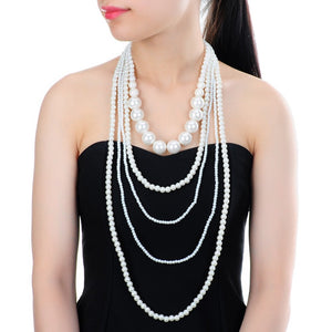 Hot Fashion Valentine's/Wedding/Party Gift Multilayer Strand Chain White Faux Pearl Long Statement Bib Necklace