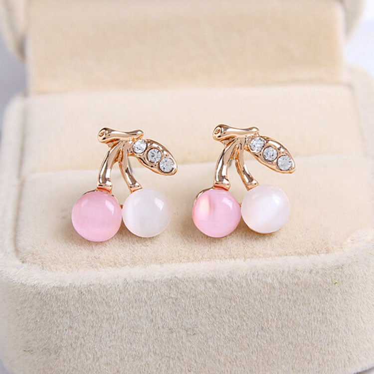 Hot Korean Version Fashion Woman Earrings Jewelry Brincos Opal Rhinestone Cute Cherry Stud Earrings Accessories