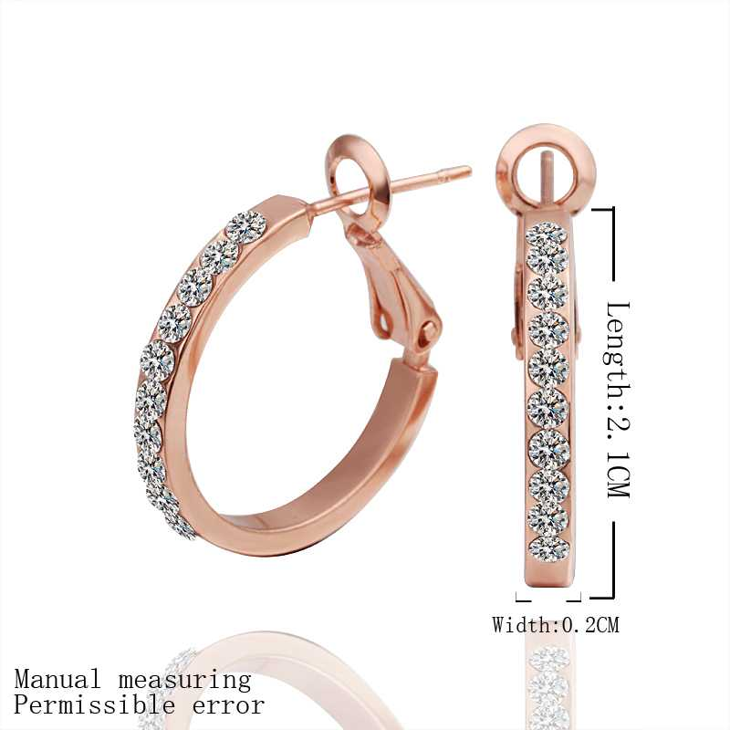 Hot sell gold color Earring Fine Fashion Nickel Free Tin Alloy Rhinestone Czech women hoop Jewelry Earring SMTPE389