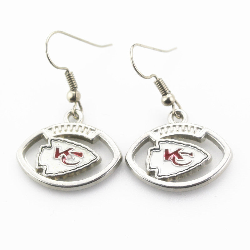 Hot selling 6 pair/lot USA Kansas City Chiefs Football Earring Team Sports Long ear hook Drop Earrings for Women Fans