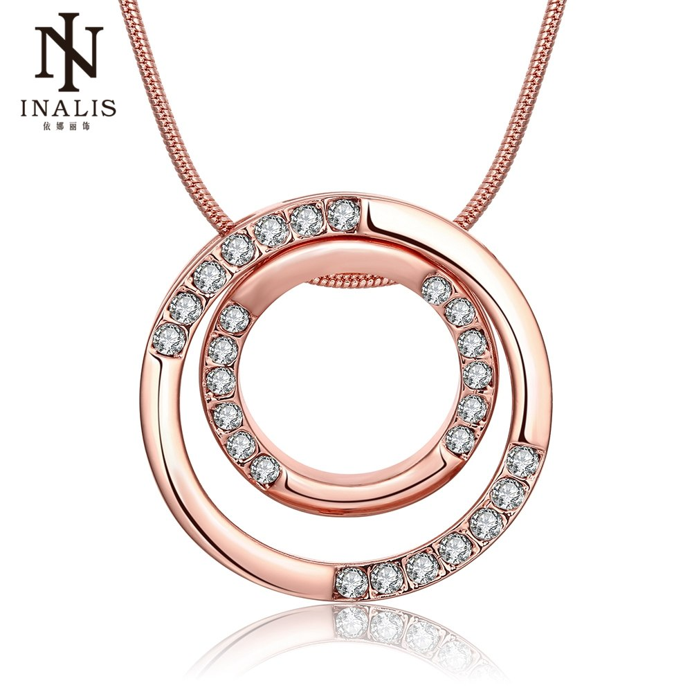 Gold Color Double Circle Zircon Necklace Wholesale Chain for Women Girl Jewelry
