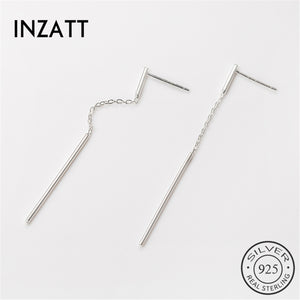 Solid Authentic 925 Sterling Silver Drop Earrings Minimalist Style Metal Bar Trendy Women Jewelry For Mother's Day