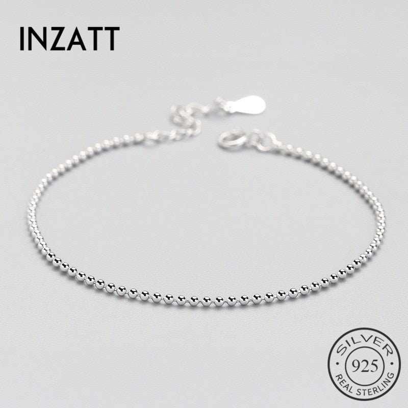 Real 925 Sterling Silver Smooth Surface Bead Chain Bracelet Fine Jewelry For Women Birthd Party Trendy Accessories Gift