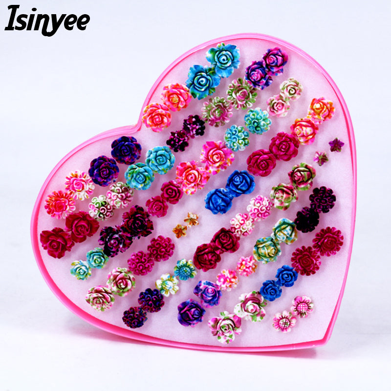 Fashion Rose Flower Stud Earrings Set For Women Little Girl Trendy Plastic Small Earring Jewelry 36 pairs Randomly Mixed