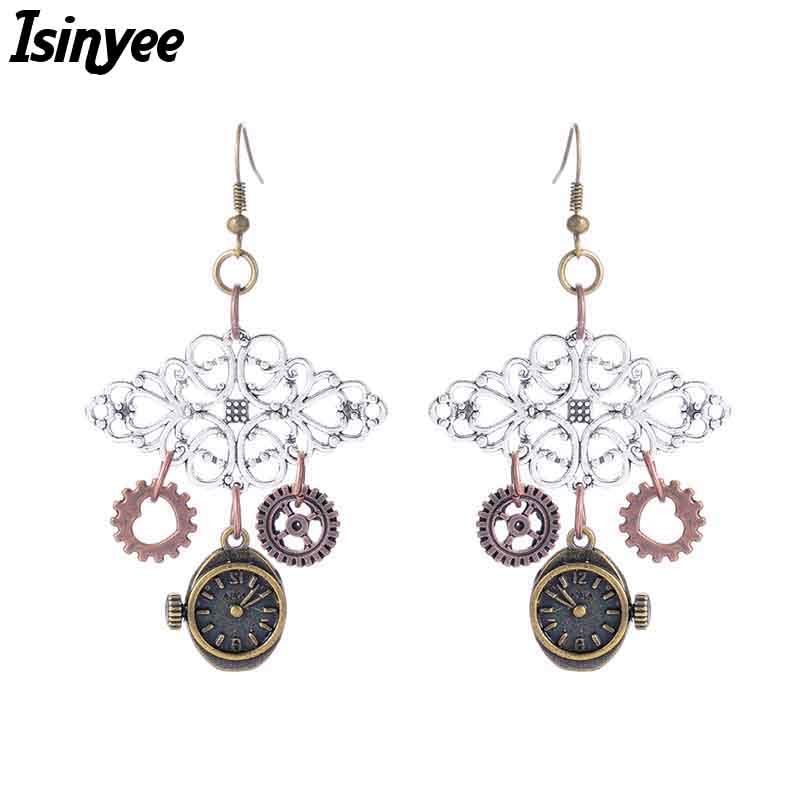Vintage Clock Gears Tassel Earrings Steampunk Exaggerated Earring For Women Girls Steam Punk Jewelry Christmas Gift