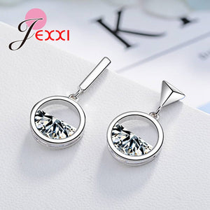 Personality Newest Arrival Fashion 925 Sterling Silver Triangle Shape Drop Earring With Semicircle Crystals Women Jewelry