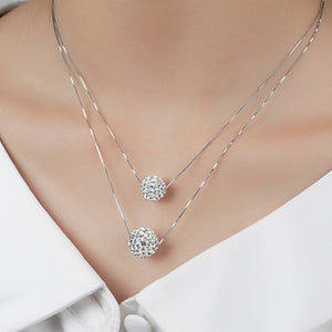 Simple Elegant Rhinestone Necklaces Fashion Jewelry Double CZ Crystal Ball Statement Pendants Necklaces For Woman Gift