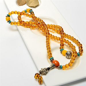6-7mm Golden Crystal precious stone Agate Beads Necklace with Sliver Buddha Pandent Statement Necklaces For Sweater