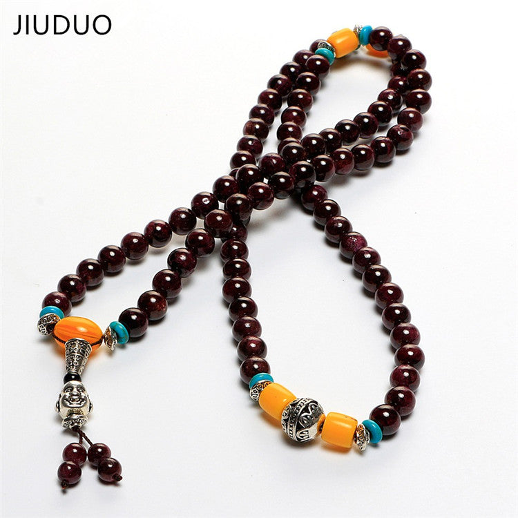 Bohemia Styles Natural Stones Necklace with Buddha Pendant Agate Beads 8MM Glossy Brown&Golden Necklaces Jewelry Unisex