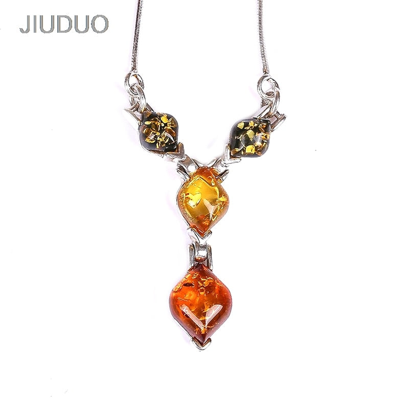 Europe and the United States simple100% 925 sterling silver inlaid 100% natural amber beeswax necklace female models