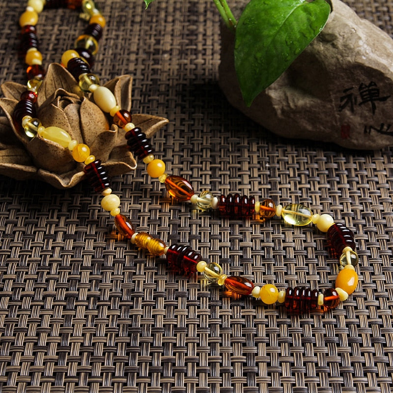 Genuine luxury Natural Baltic For Women Amber Honey Wax Cooper Flower Necklace Russian Style