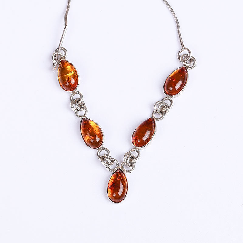 Natural Amber Beeswax White Nectar Pendant Women Necklace S925 Sterling Silver Handmade Mosaic Authentic No Optimization