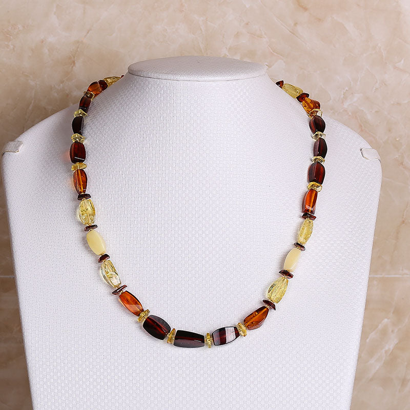jewelry Genuin offer Natural Treasure Amber Square Necklace European Design Lithuanian Baltic Sea Beeswax Perkins