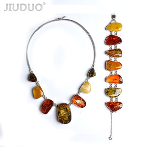 jewelry Genuine natural amber Jewelry twist bead silver silver necklace and bracelet set suit factory price fidelity