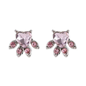 Korean Fashion Cute Pink Cat Claw Animal Ear Stud Geometric Crystal Earrings Jewelry Sweet Casual for Women Girl