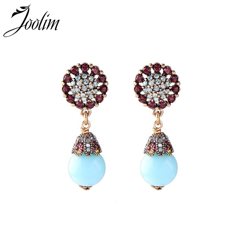 Ethnic Crysal Teal Water Drop Earring Fashion Summer Earring For Women 2018 Wholesale