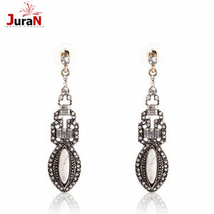Big Brand Long Full Crystal Vintage Earrings For Women 2018 New Fashion Party Accessories Metal Alloy Antiuqe Ear P1402