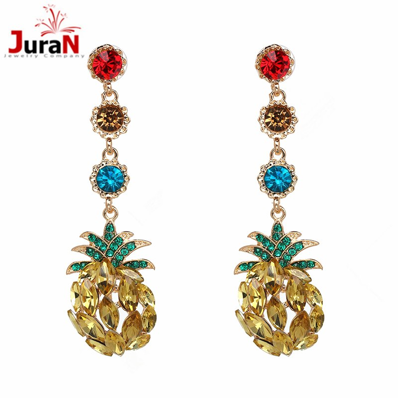 New Hight Quality Full Rhinestones Stud Earring Pineapple long Earrings Bijoux Earings Fashion Brincos Jewelry For women