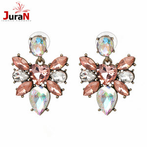 New Trendy Colorful Rhinestone crystal Stud Earrings for Women Fashion Jewelry Brilliant Quality Vintage earring Wholesale