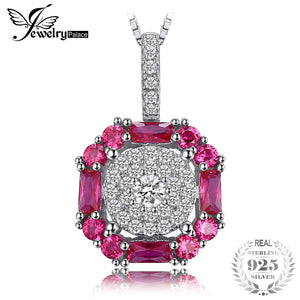 1.26ct Created Ruby Halo Pendant Necklace 925 Sterling Silver 45cm Chain New Fine Jewelry for Women Fashion